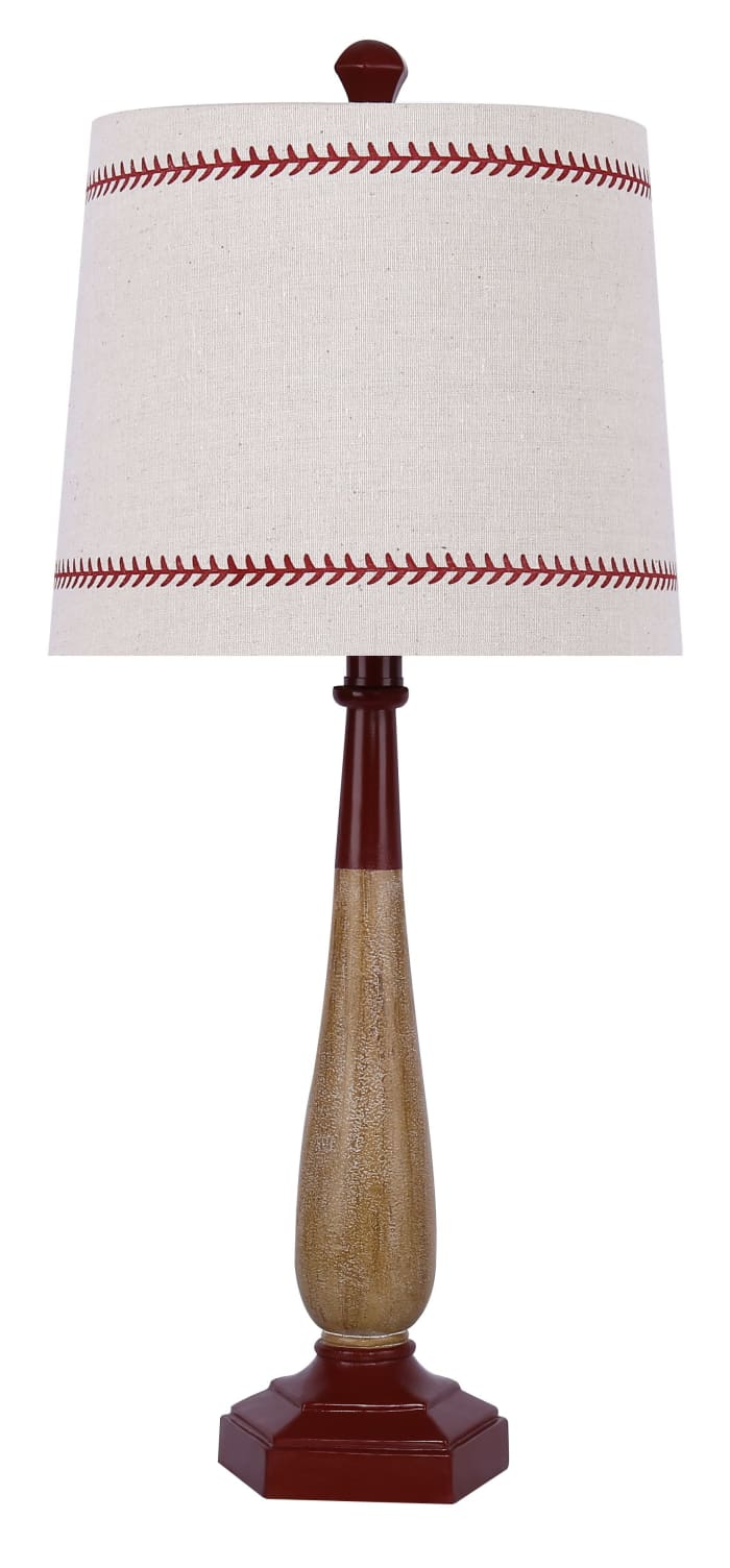 Aged & Matte Vintage Red Finish Baseball Bat Table Lamp