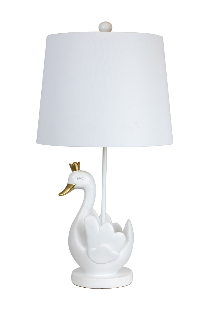 Matte White Swan Gold Leaf Table Lamp