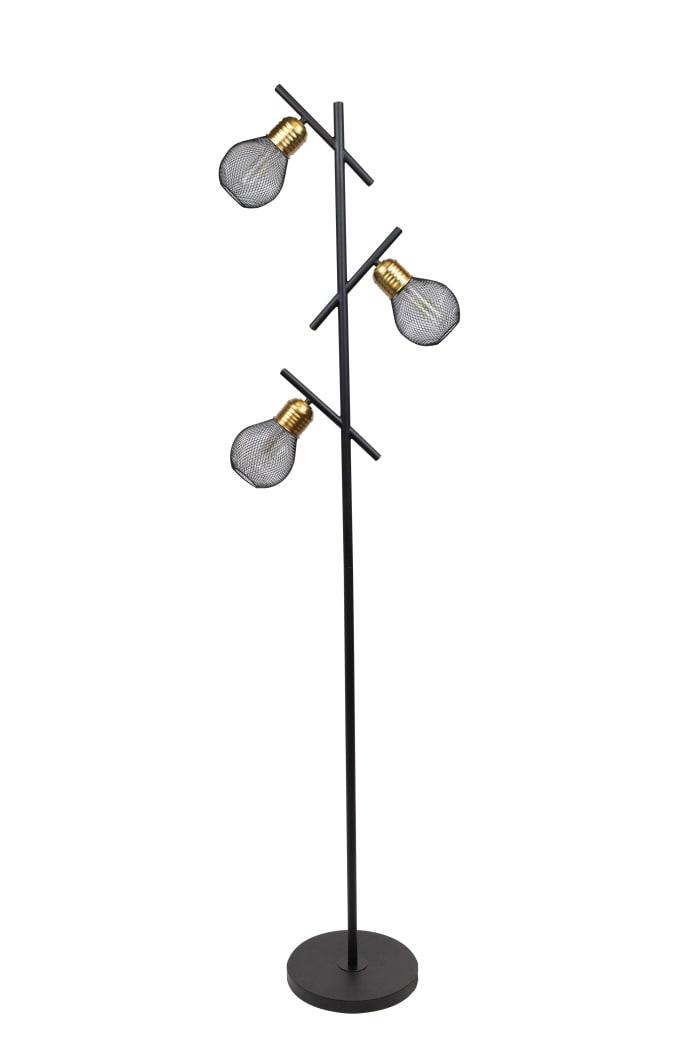 Matte Black & Dark Copper Brass Tree Floor Lamp