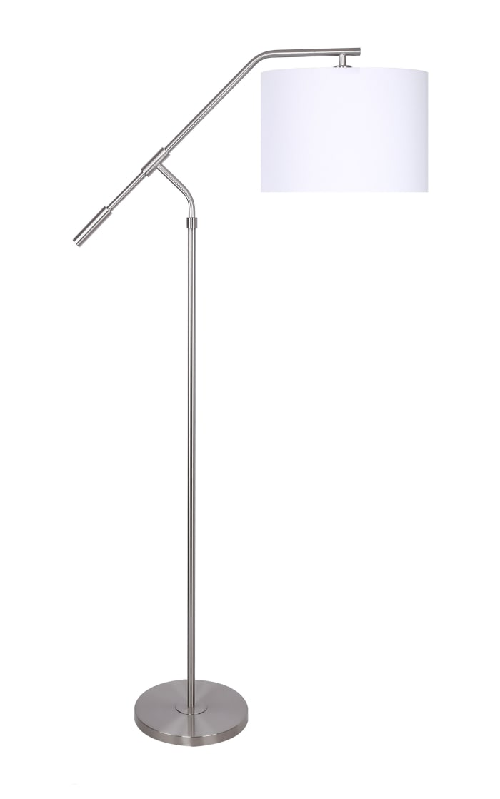 Brushed Nickel Task with Slim-Line Angular Design Floor Lamp