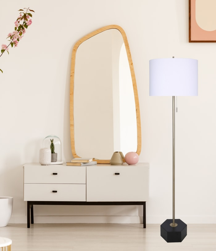 Slimline with Matte Black and Gold Finish Floor Lamp