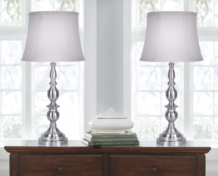 Metal with Brushed Nickel Finish Set of 2 Table Lamp