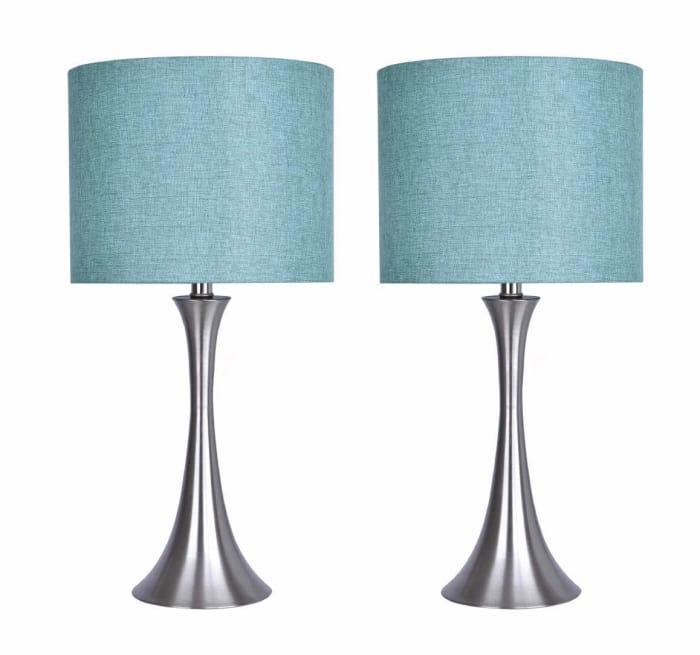 Brushed Nickel Set of 2 Table Lamps