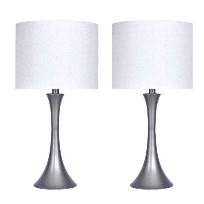 Frosted Silver Set of 2 Table Lamps