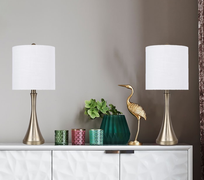 Gold Plated with Flared Base Set of 2 Table Lamps
