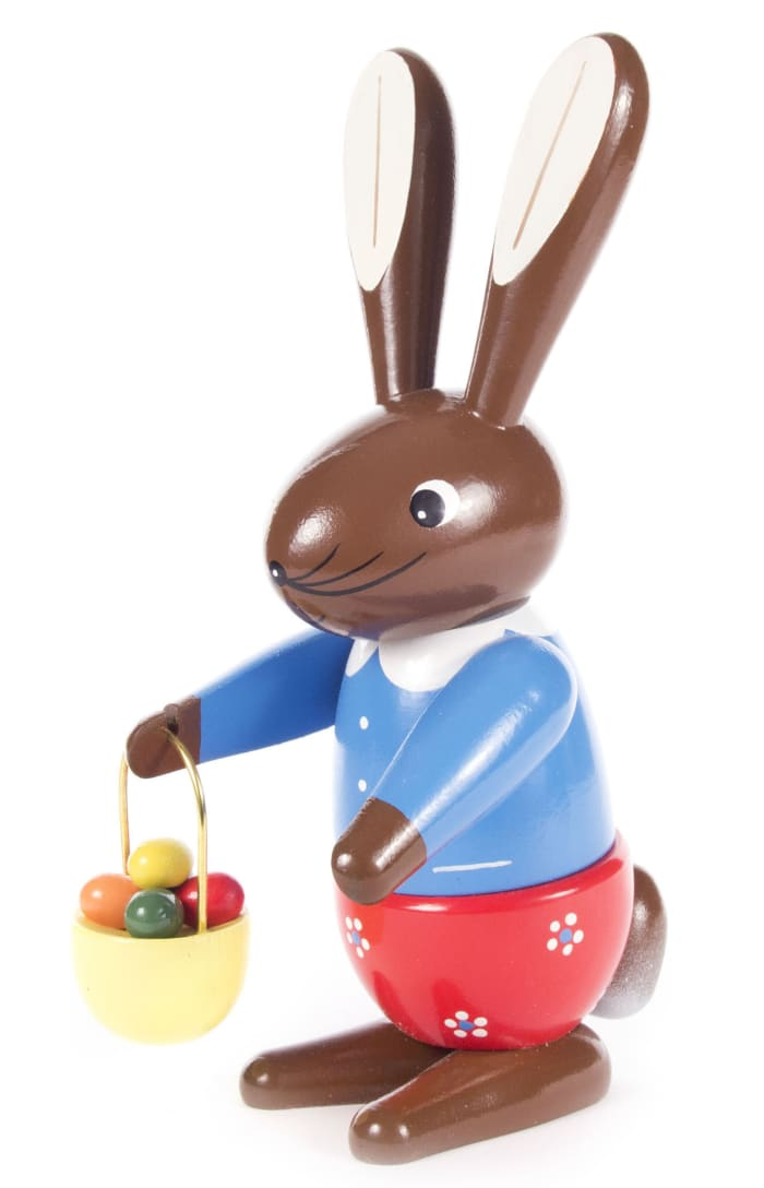 Dregeno Rabbit Lady With Hand Basket Easter Figure