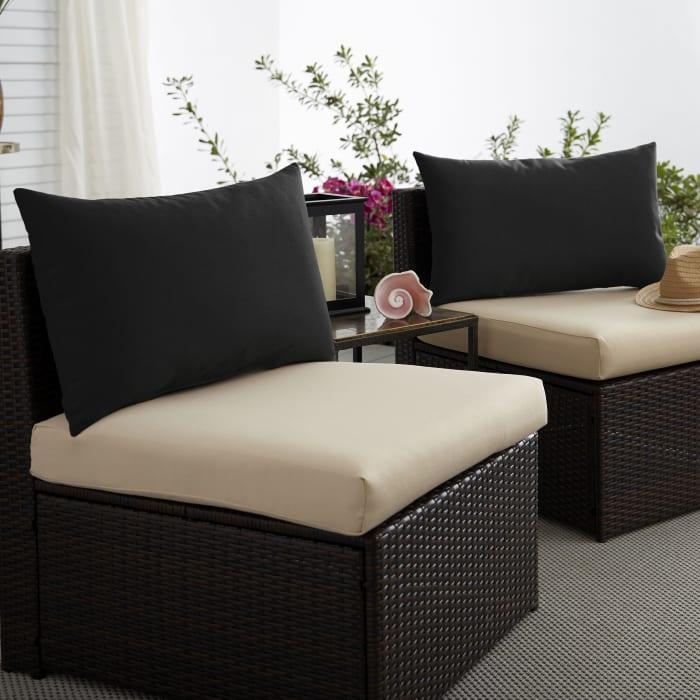 Corded Set of 2 XL Black Lumbar Pillows