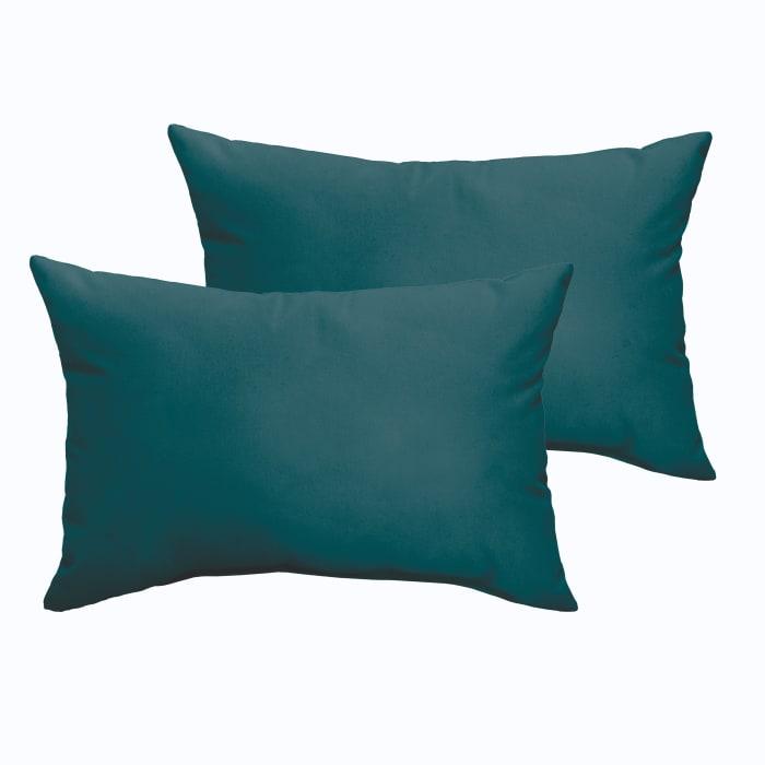 Corded Set of 2 XL Teal Lumbar Pillows