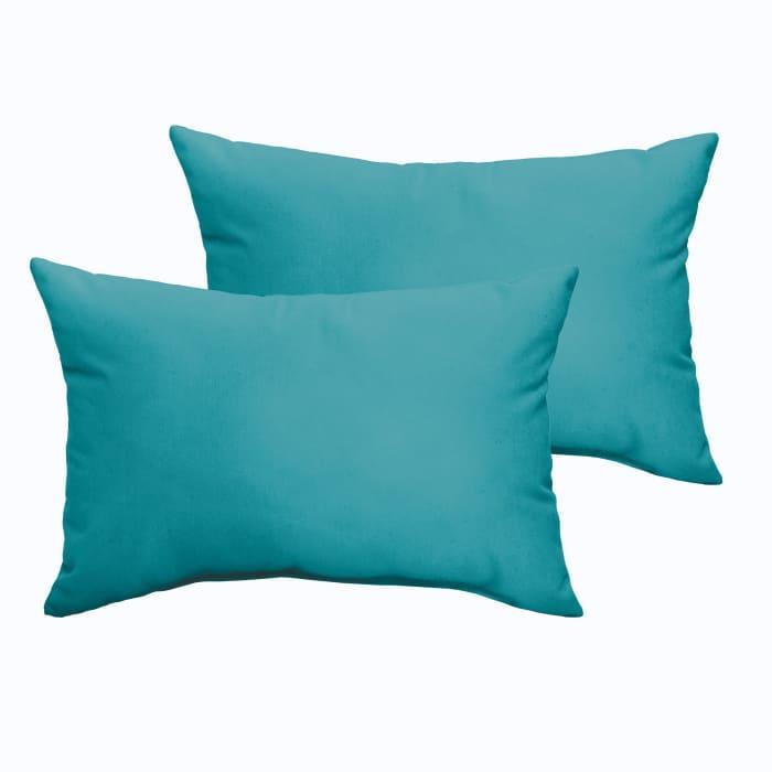 Corded Set of 2 XL Aqua Blue Lumbar Pillows
