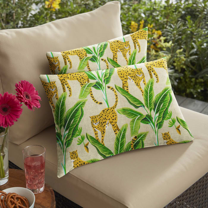 Corded Set of 2 Yellow/Green Lumbar Pillows