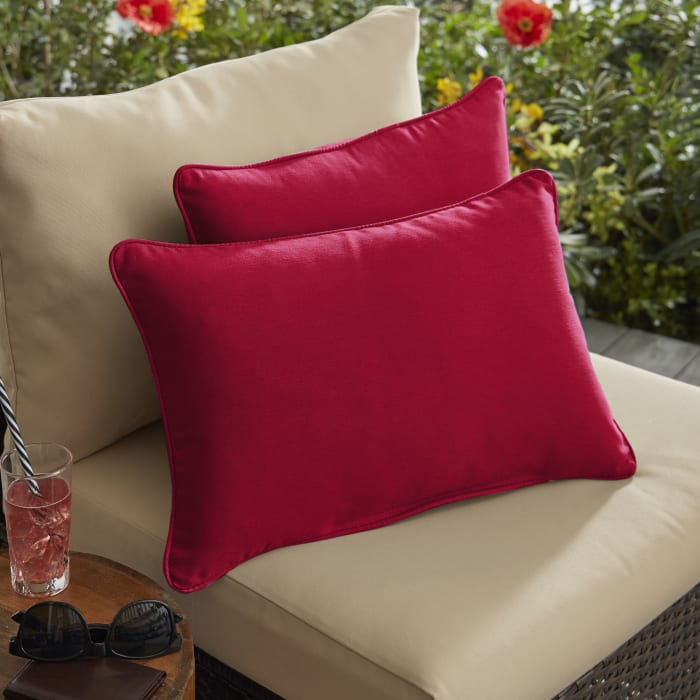 Corded Set of 2 Crimson Red Lumbar Pillows