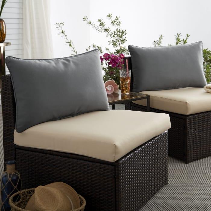 Corded Set of 2 XL Charcoal Grey Lumbar Pillows