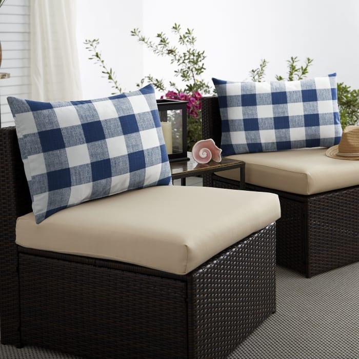 Corded Set of 2 XL Dark Blue Buffalo Plaid Lumbar Pillows