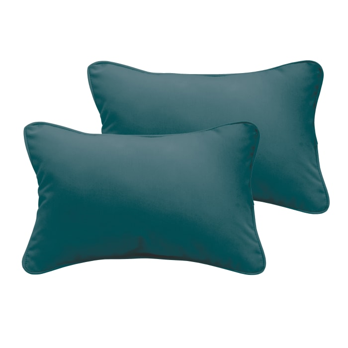 Corded Set of 2 Teal Lumbar Pillows
