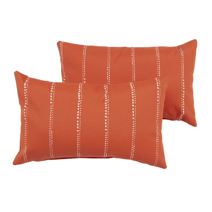 Corded Set of 2 Orange Dotted Stripes Lumbar Pillows