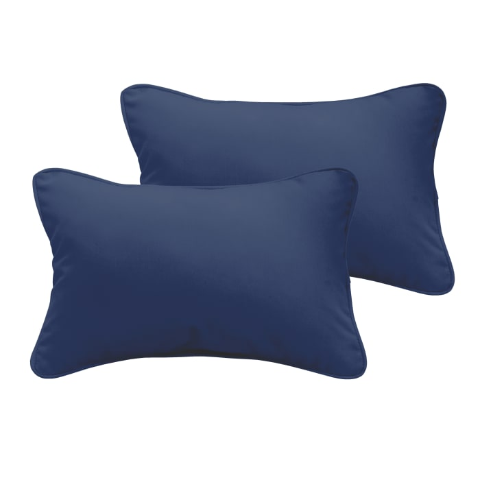 Corded Set of 2 XL Dark Blue Lumbar Pillows