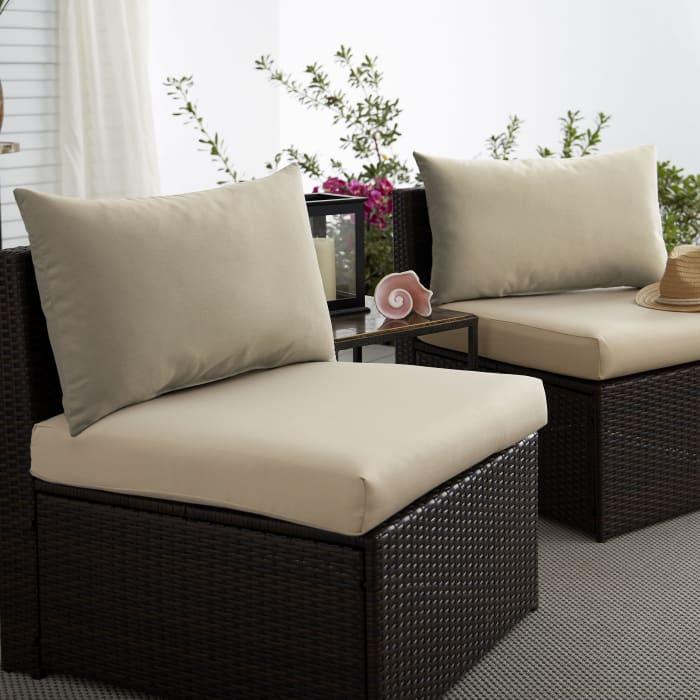 Corded Set of 2 XL Beige Lumbar Pillows