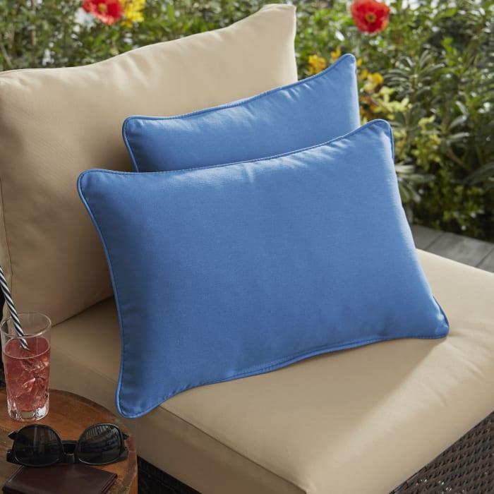 Corded Set of 2 Light Blue Lumbar Pillows
