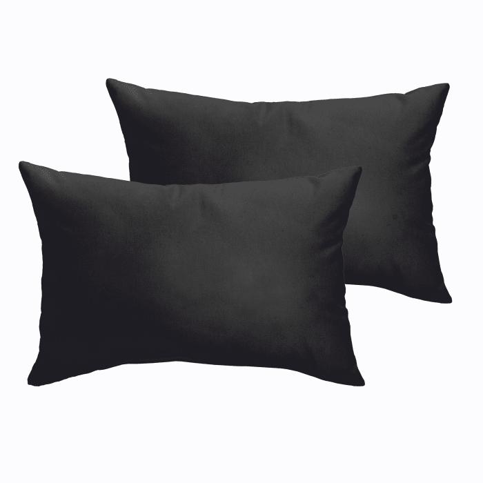 Corded Set of 2 Black Lumbar Pillows