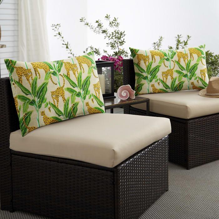 Corded Set of 2 XL Yellow/Green Lumbar Pillows