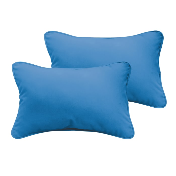 Corded Set of 2 XL Light Blue Lumbar Pillows