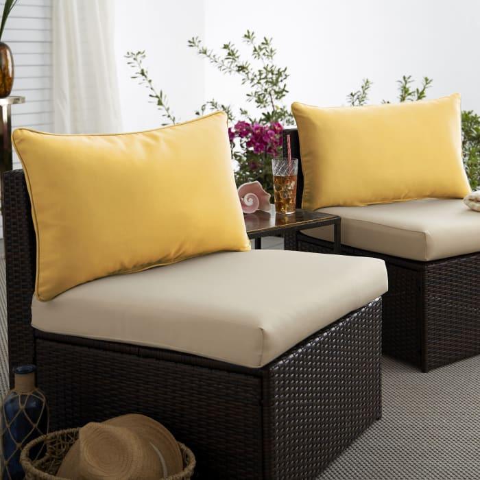 Corded Set of 2 XL Butter Yellow Lumbar Pillows
