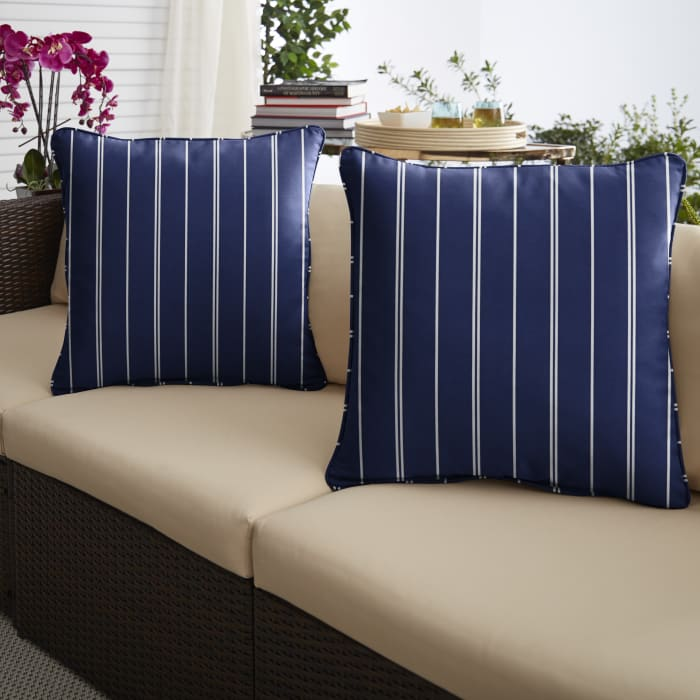 Corded Set of 2 Navy/White Stripes Lumbar Pillows