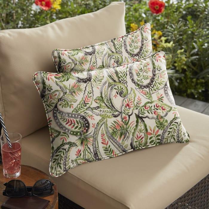 Corded Set of 2 Green/Blue Paisley Lumbar Pillows