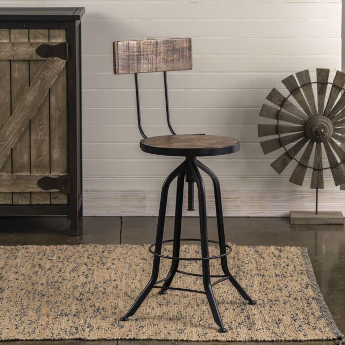 Adjustable Industrial Wood and Metal Bar Stool
