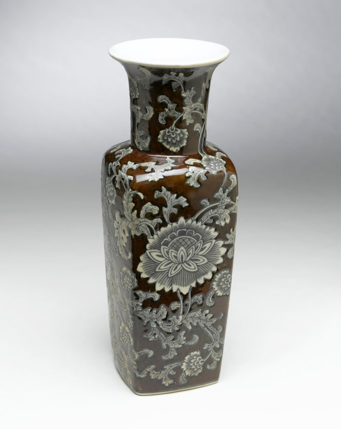 Brown and Gray Floral and Vine Vase
