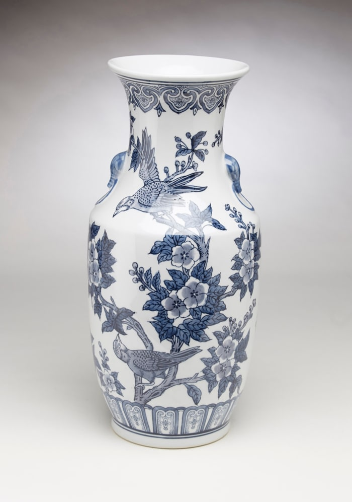 Blue and White Bird and Floral Vase