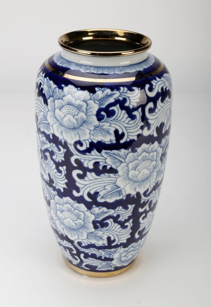 Blue and White Floral Vase with Gold Trim