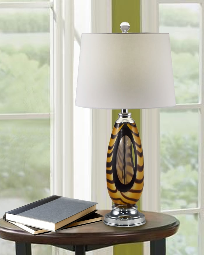 Bengal Tiger Art Glass Table Lamp