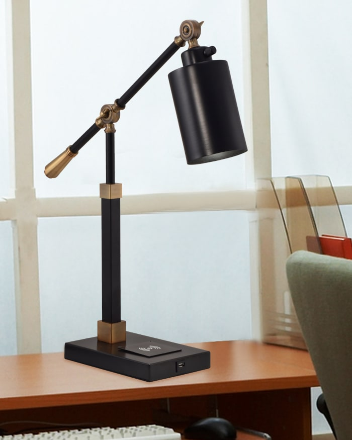 Springdale Cylinder Multi-Direction With Wireless and USB Charger Desk Lamp