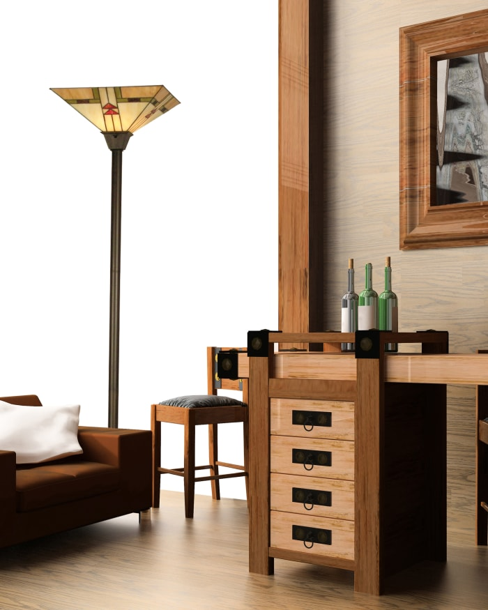 Arrowhead Mission Tiffany Torchiere Floor Lamp
