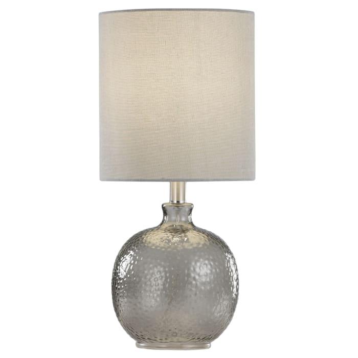Smoke Finish Light Gray Hardback Fabric Shade Table Lamp