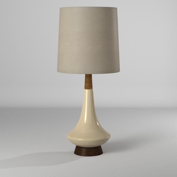 Ceramic White Washed Wood/Cream Finish Table Lamp