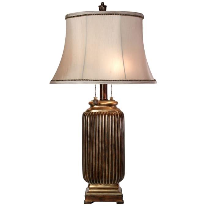 Winthrop Dark Brown With Khasi Silver Finish  Table Lamp