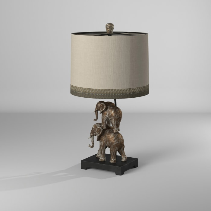 Kolkata Antique Silver Finish Table Lamp