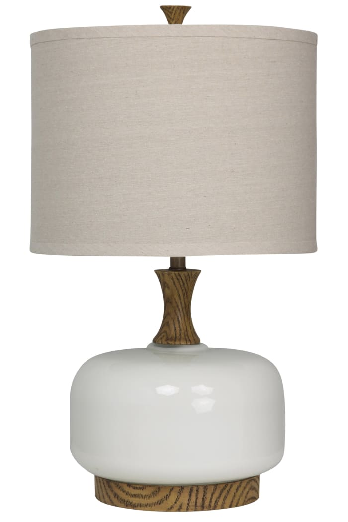 Chevelle Ceramic  Natural Wood And White Finish Table Lamp