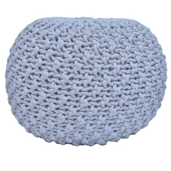 Ananya Gray Knit Pouf