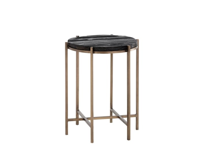 Rohan Dark Brown Antique Brass End Table