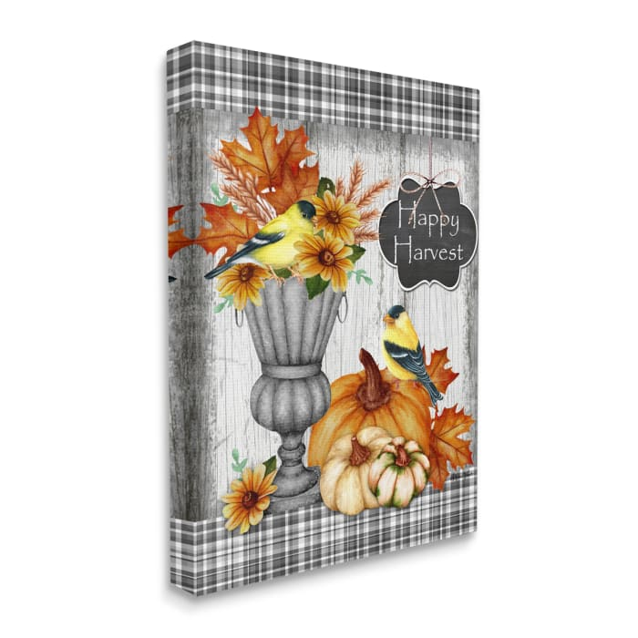 Happy Harvest Charming Autumn Birds and Gourds Wall Art