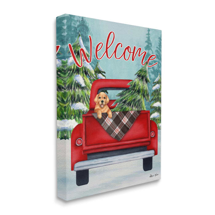 Winter Welcome Red Truck Christmas Pet Dog Wall Art