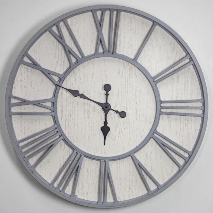 Whitewashed Oversized Wall Clock
