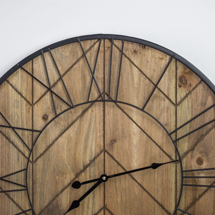Rustic Wood and Metal Oversized Wall Clock
