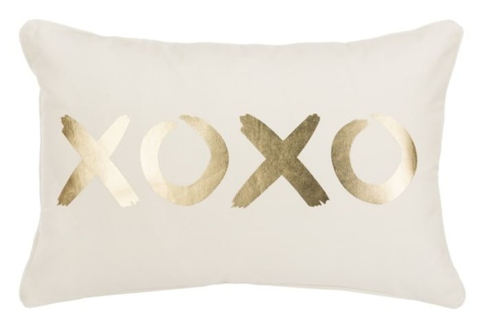 Hugs And Kisses  Gold Pillow