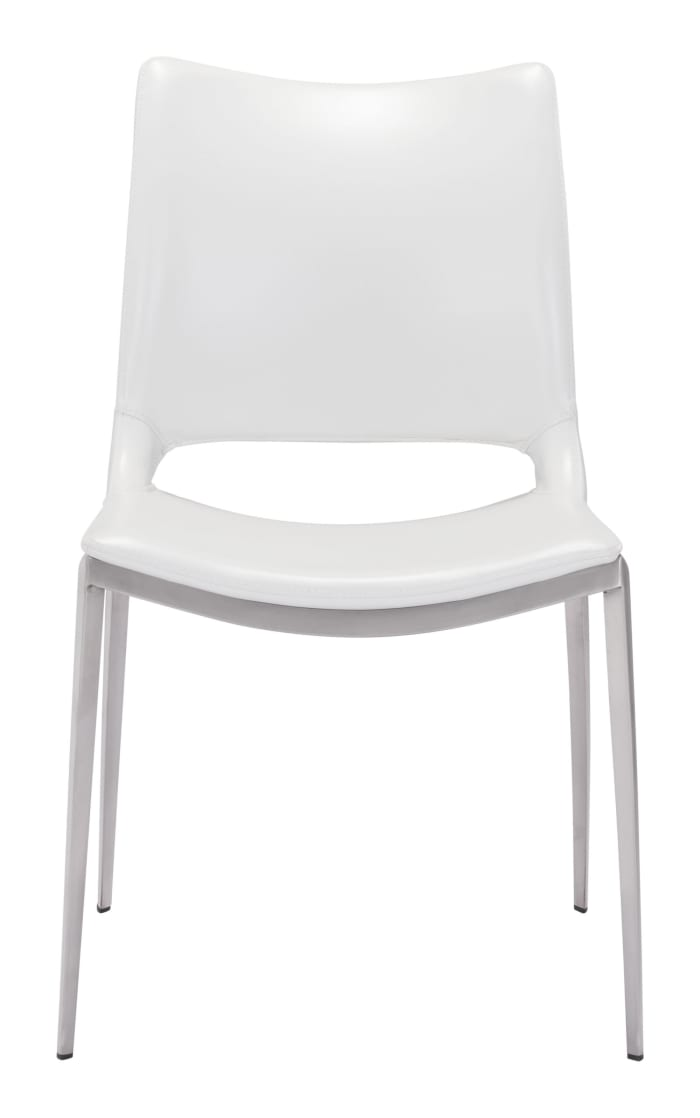 Cradle White Faux Leather Set of 2 Side or Dining Chairs