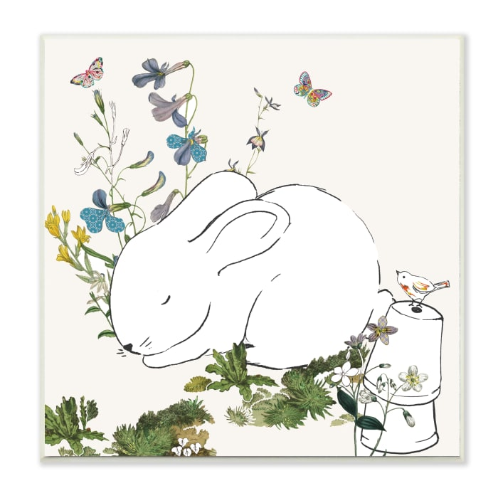 Sleeping Bunny Rabbit Soft Butterfly Garden Wood Wall Art