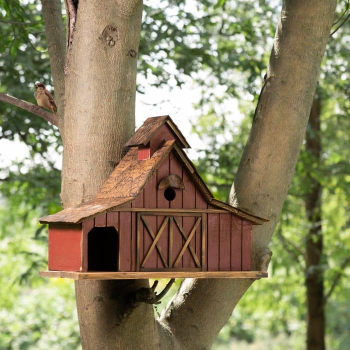 Extra-Large Rustic Wood Barn Birdhouse